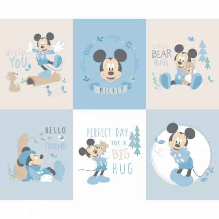 Blue Disney Mickey Little Meadow Panel
