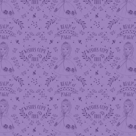 Sofia the First Outline Toile Purple Disney
