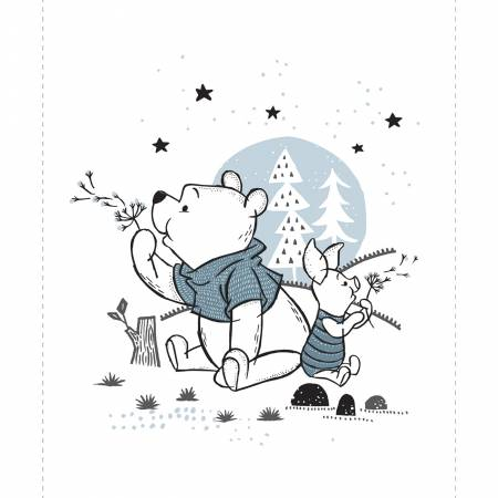 Wonder and Whimsy Disney Pooh & Piglet White Panel 36in x 44in