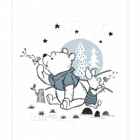 White Disney Pooh & Piglet Panel 36in x 44in