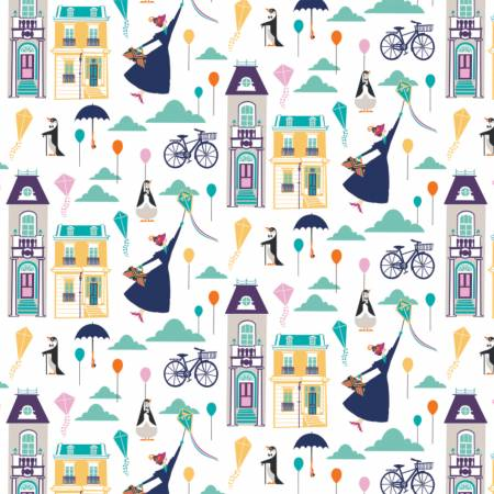 White Disney Mary Poppins Big Plans for Adventure Fabric by the Yard