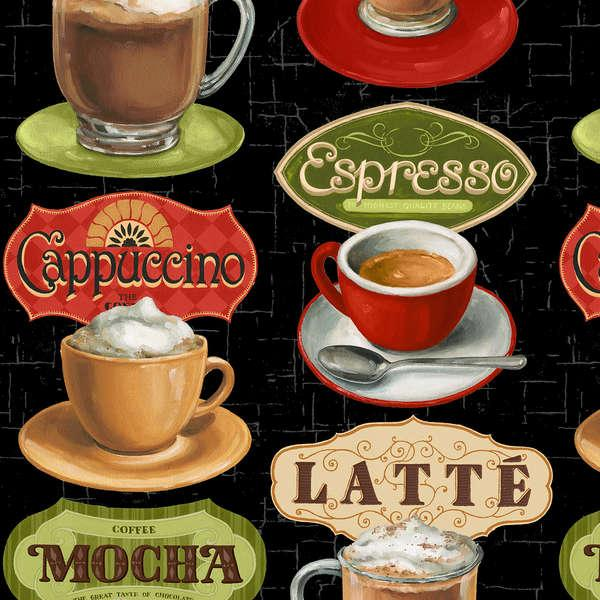 Black Coffee Cups & Labels