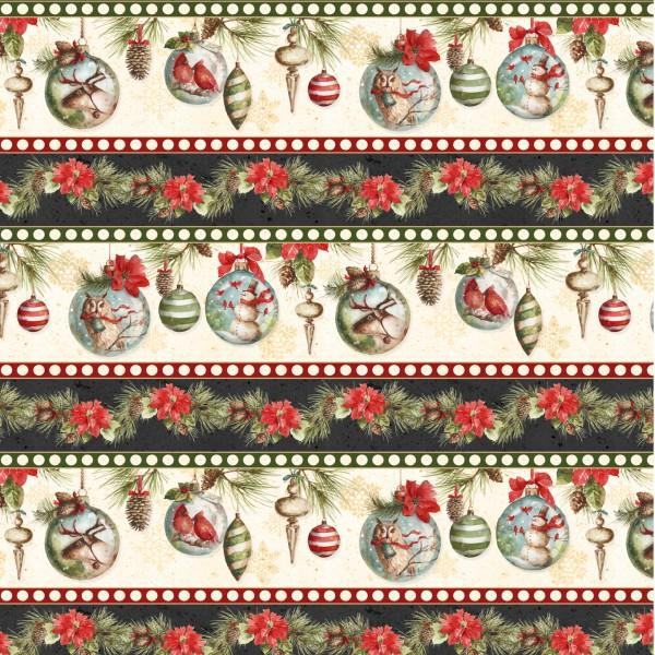 Multi Woodland Holiday Repeating Stripe