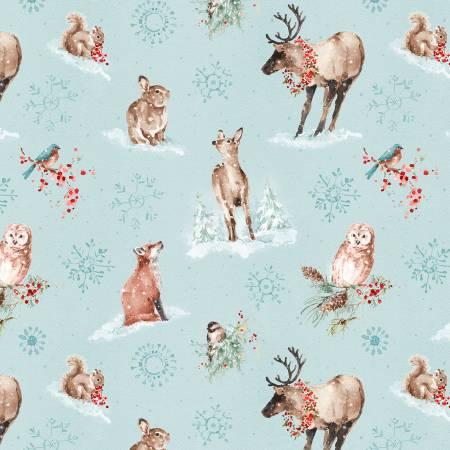 A Magical Christmas Blue Animals Allover