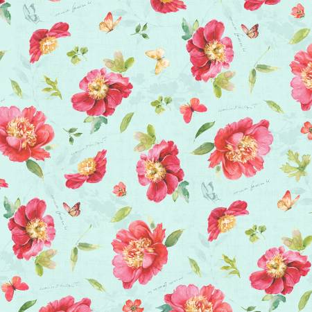 Teal Floral Toss