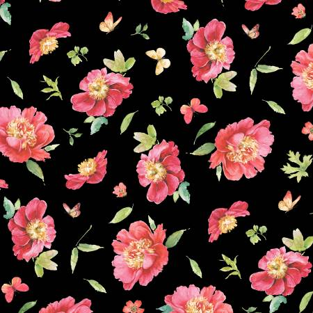 Wilmington Pink Garden Floral Toss -  Black