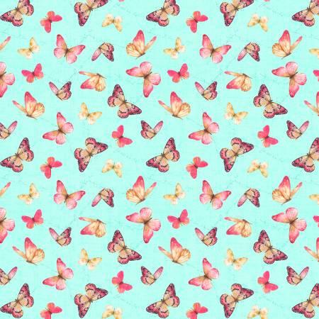 Teal Butterflies Allover