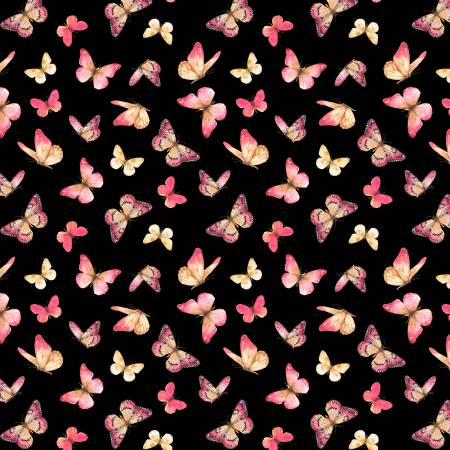 Wilmington Pink Garden Butterflies -  Black