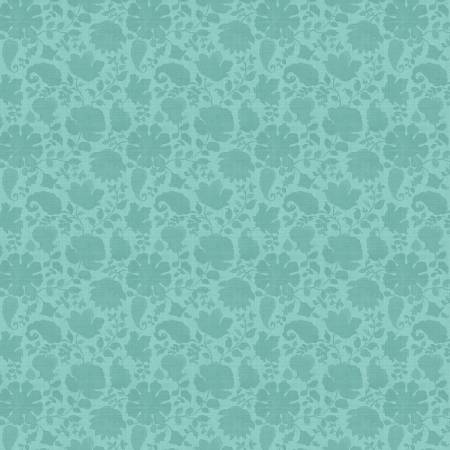 Teal Floral Silhouette