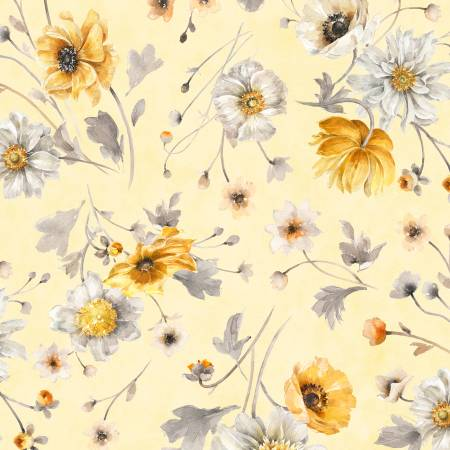 Yellow Large Floral  Allover - Fields of Gold by Lisa Audit
