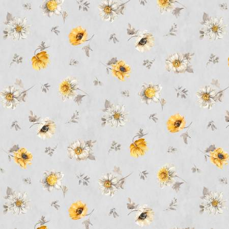 Grey Floral Toss - Fields of Gold by Lisa Audit