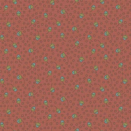 F-CB-HGL-GWH-01 Henry Glass-GWH - Garden Whimsy-01-28 - Dusty Pink w/ sm Blue flowers