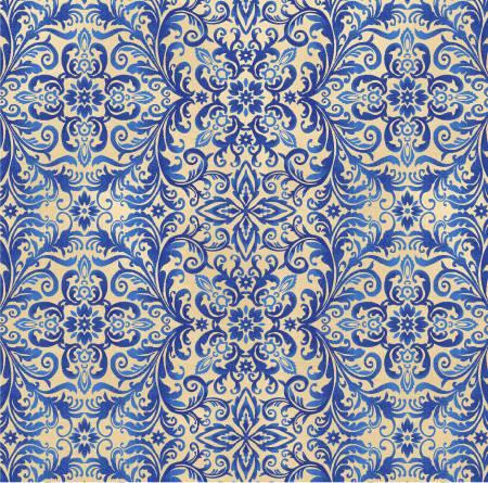 Cream Blue Damask