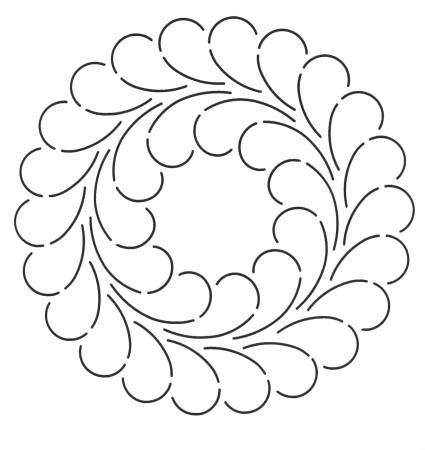 Quilt Stencil Feather Circle 9in
