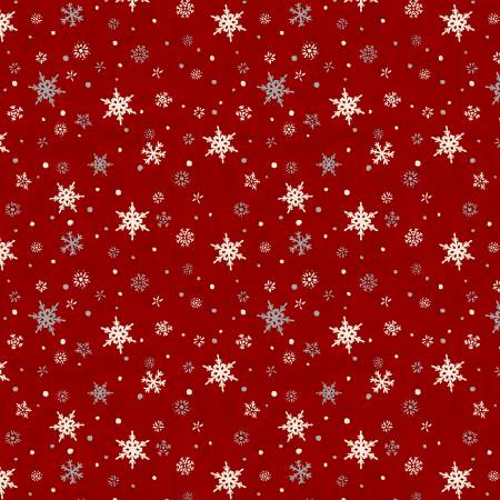 Holiday in the Woods-Snowflakes Red