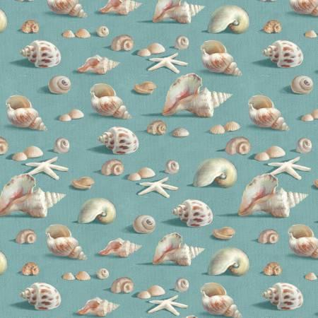 Blue Seashells Allover