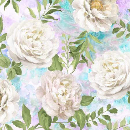 Wild Blush 89218-617 White Peonies Allover