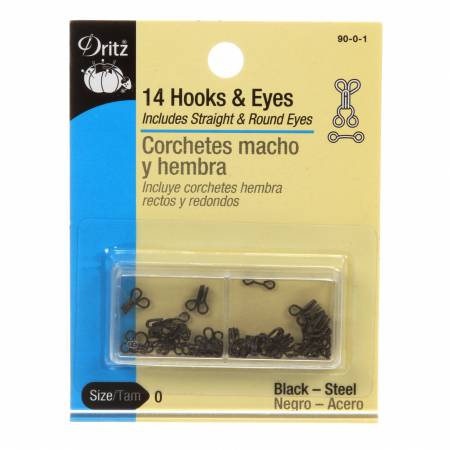 Hooks Eyes & Loops Black Size 0