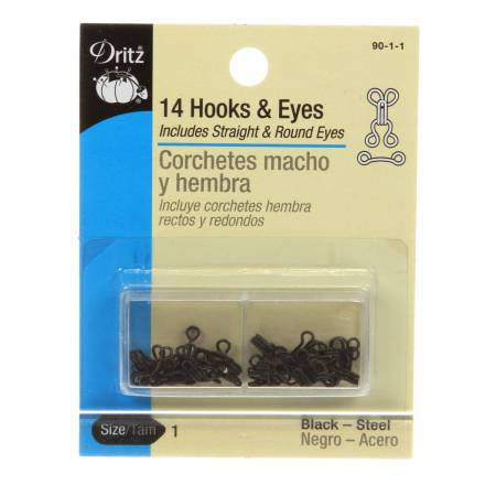Hooks Eyes & Loops Black Size 1