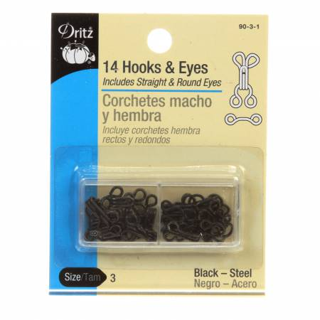 Hooks Eyes & Loops- Black Size 3