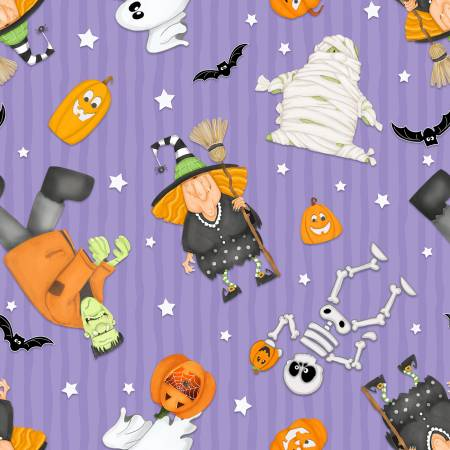 HG- A Haunting We Will Glow Halloween Motifs Tossed Purple Glow in Dark