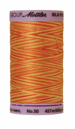 Silk-Finish 50wt Variegated Cotton Thread 500yd/457M Orange Ana