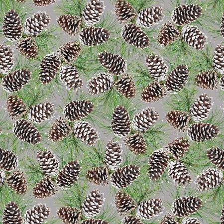 Snowy Woods- Green Pinecones