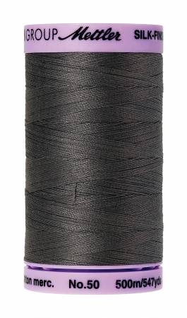 Silk-Finish 50wt Solid Cotton Thread 547yd/500M Dark Charcoal