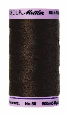 Silk-Finish 50wt Solid Cotton Thread 547yd/500M Very Dark Brown