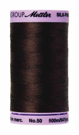 Silk-Finish 50wt Solid Cotton Thread 547yd/500M Black Peppercorn