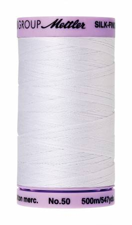 Silk-Finish 50wt Solid Cotton Thread 547yd/500M White