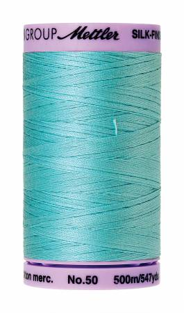 Silk-Finish 50wt Solid Cotton Thread 547yd/500M Blue Curacao