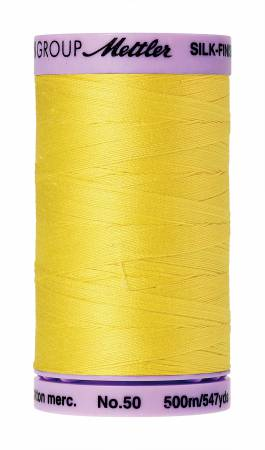 Mettler 3507 Silk-Finish 50wt Solid Cotton Thread 547yd/500M Lemon Zest