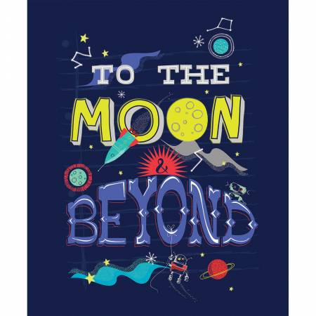 To The Moon & Beyond 36in Panel Glow in the Dark Fabric by Camelot