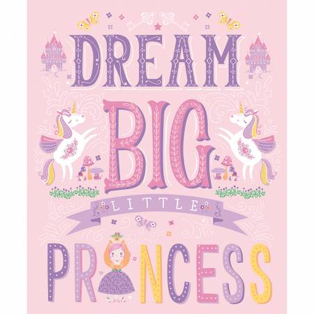 Light Pink Little Princess Panel 35 x 44 from Once Upon A Time Children's Fabric Line