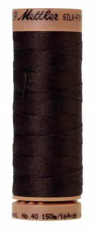 Mettler Silk-Finish 40wt Solid Cotton Thread 164yd/150M 1002 Very Dark Brown