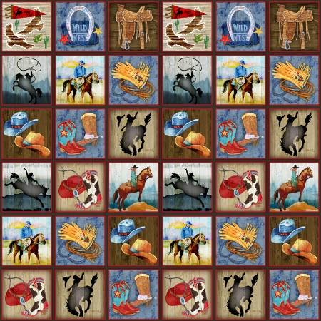 9147-33 Sunset Rodeo / Rodeo Blocks - Multi