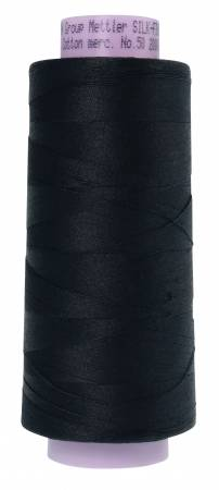 Silk Finish 50wt Cotton Thread 2000yd/1829M Black Mettler