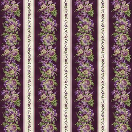 Maywood - Aubergine-Elegant Border Stripe/Lavender - 9150-V