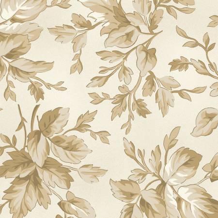 Aubergine Ivory Tonal Leaves