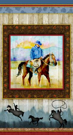Henry Glass - Sunset Rodeo - Panel/Multi 24in Western  - 9156P-33 - W-21