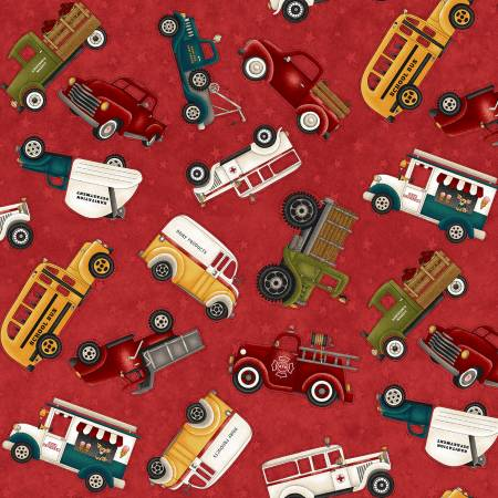 Papas Old Truck Red Truck Allover 9157-88