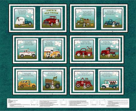 Papas Old truck Teal Book Panel