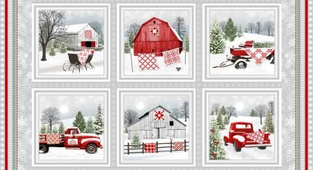 Holiday Heartland - Grey/Red Barns & Trucks in Blocks