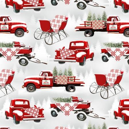 Holiday Heartland -Grey/Red Trucks Allover