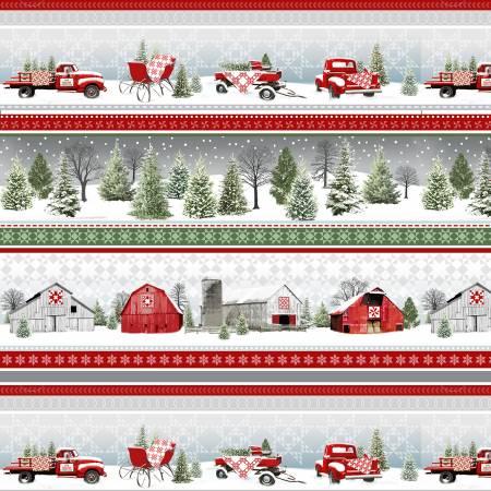 Holiday Heartland - Grey/Red Novelty Stripe Truck & Sleds