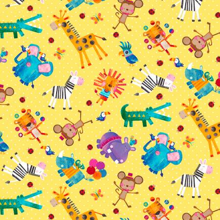 Tossed Animals Yellow Background