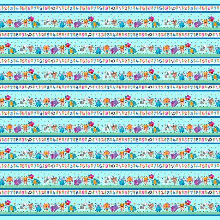 Jungle Animals and Numbers 1 -10 Stripe Border on Aqua Blue:  Numbers in the Jungle by Lindsey Sagar for Henry Glass and Co.