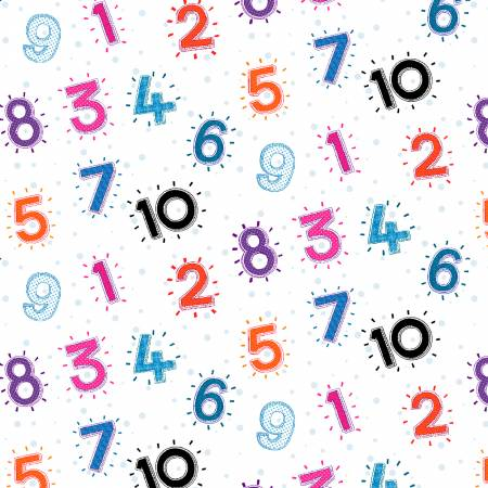 Multi Color Numbers 1-10 on white background
