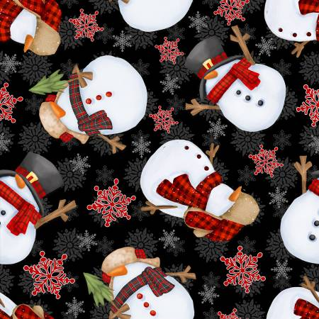 9272-99 Timber Gnomies - Tossed Snowmen Black by Shelly Comiskey for Henry Glass & Co.